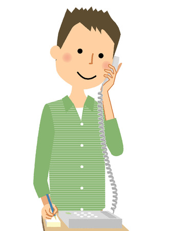 Young man talking on the phone, Vector illustration.