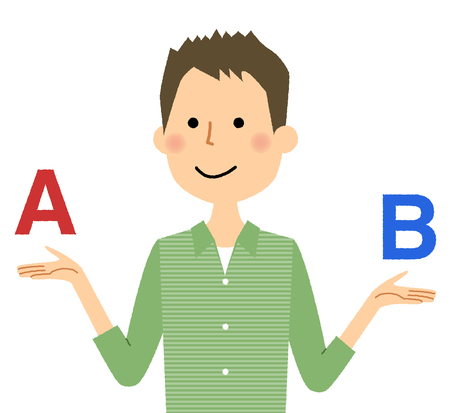 Young man, choosing between letters A and B. Selection concept illustration.