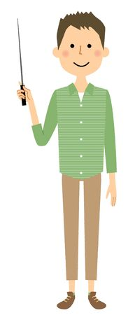Young man, Papa,, Pointer stick Illustration