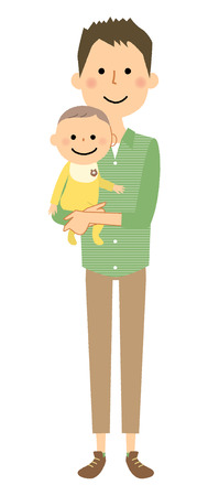 Father and baby cartoon illustration.