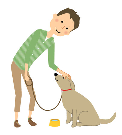 Young man, Papa, Walk with a dog Illustration