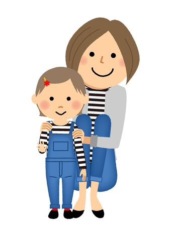 Mothers and daughters in matching clothes Ilustrace