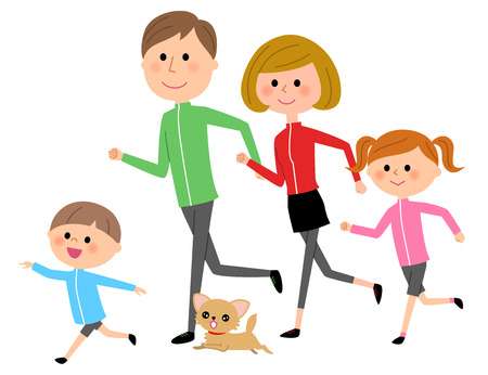 Family jogging with their pet dog. Illustration
