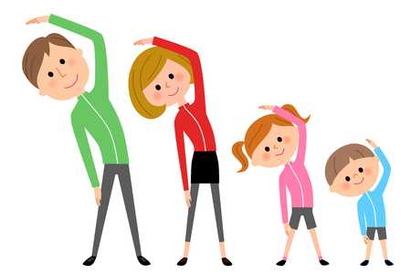 Family doing gymnastics exercise illustration.