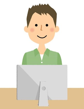 Young man with PC illustration.