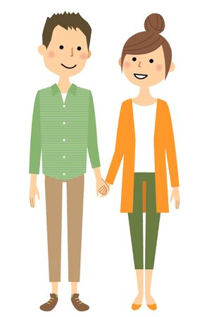 Young couple, Hold hands illustration. 向量圖像