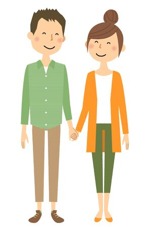 Young couple, Hold hands illustration. Illustration