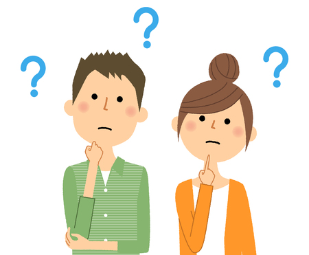 Young couple having questions illustration Çizim