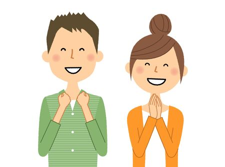 Young couple, Be pleased illustration. Illustration