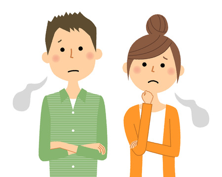 Young couple, Sigh illustration.