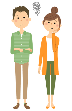Young couple, Be troubled  イラスト・ベクター素材