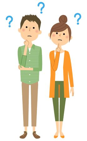 Young couple having questions illustration Ilustração