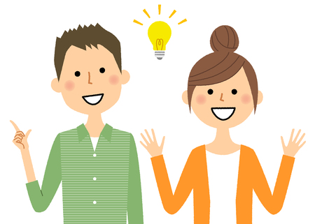 Young couple, Inspiration in cartoon illustration.