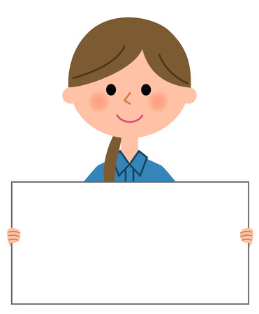 Female worker, White board