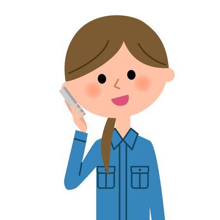 Female worker, Smart phone