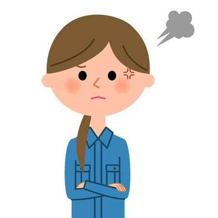 Female worker on disappointed expression. Illustration