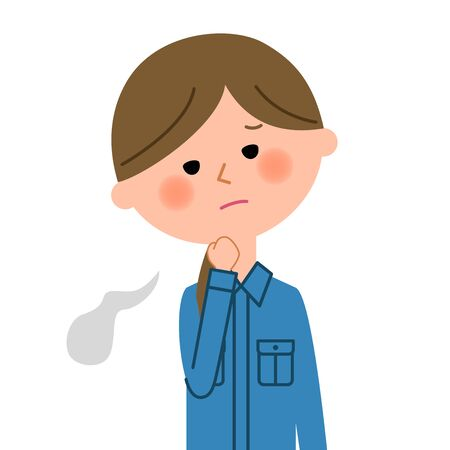 Stressed female worker in close up illustration.