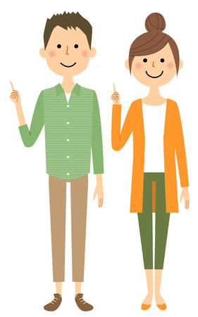 Jeune couple, doigt, pointage