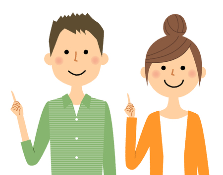 Young couple, Finger pointing