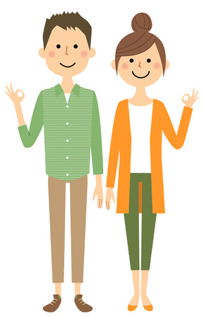 Young couple, Ok Sign