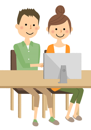 Young couple, PC illustration design.