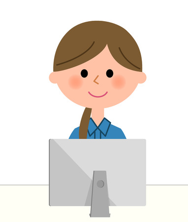 Female worker, PC