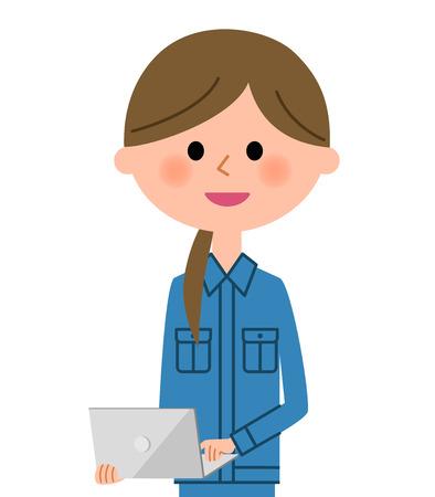 Female worker, Laptop