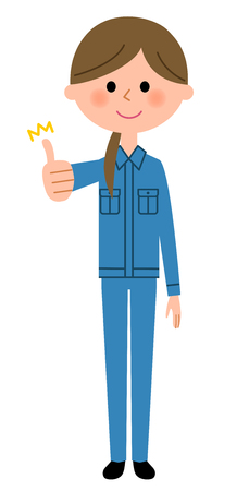 Female worker, Thumbs up Illustration