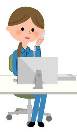 Female worker, Telephone and PC