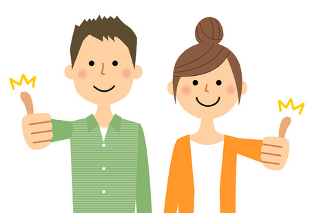 Young couple, thumbs up. Illustration