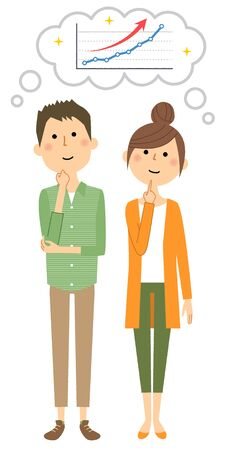 Young couple graph illustration