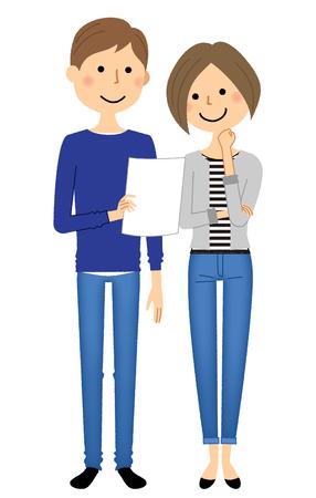 Junge Paare des Mädchens und des Jungen, die ein Blatt Papier, Beratungsvektorillustration halten.