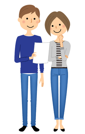 Girl and boy young couple holding a piece of paper, consultation vector illustration. Illustration