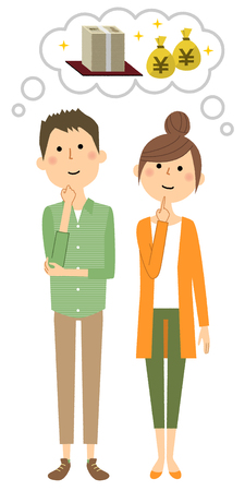 Young couple, great cost icon. Stock Illustratie