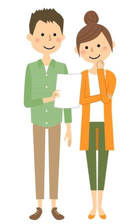 Young couple, Consultation vector illustration.