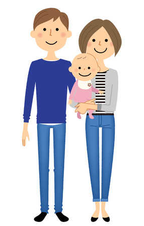 Young couple and baby vector illustration.
