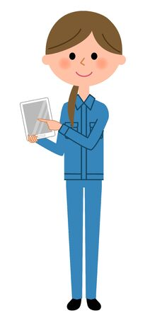Female worker holding tablet in cartoon illustration.