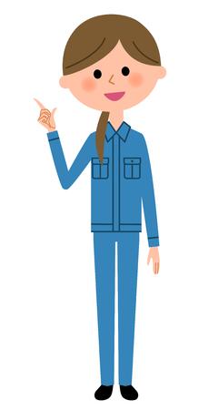 Female worker, finger pointing
