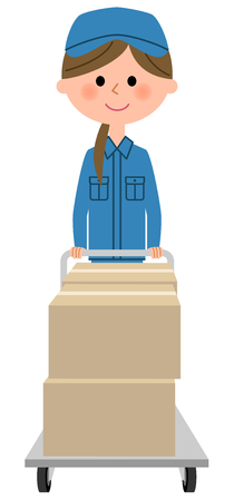 Female worker, Cardboard box