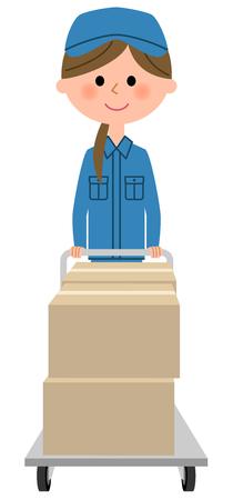 Female worker, Cardboard box