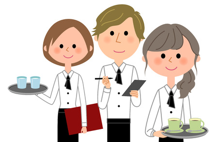 Cafe clerk, waiter, waitress, and colleagues illustration. Çizim