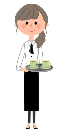 Pracownik kawiarni, kelnerka, do przenoszenia Ilustracje wektorowe