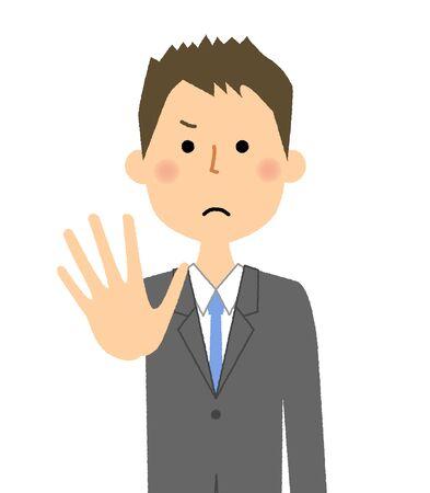Businessman, Restraint hand gesture illustration.