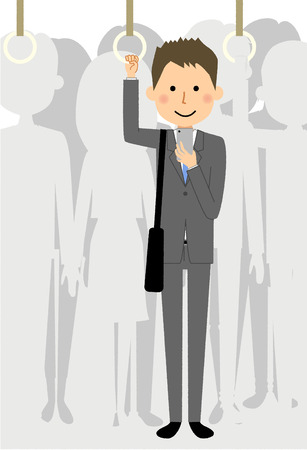 Businessman who commutes on the train.illustration