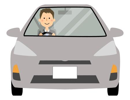 Businessman driving a car Illustration