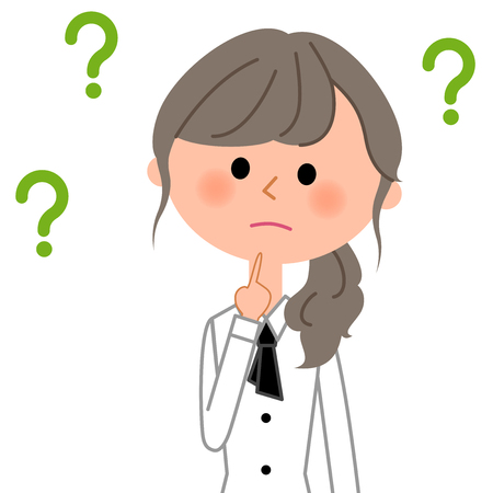 Cafe clerk or Waitress with question marks. Vector illustration.