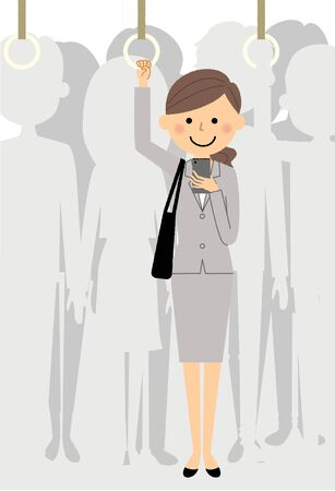 Businesswoman who commutes to train isolated illustration on white background