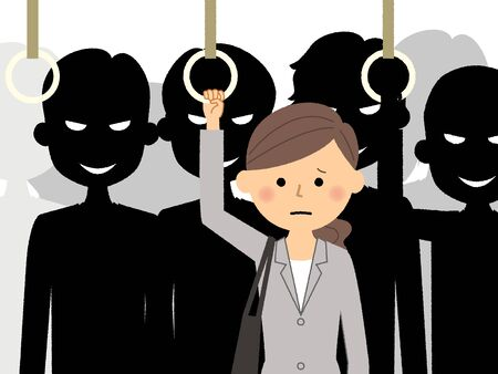 Anxious businesswoman while commuting with scary people silhouette on background. Illustration