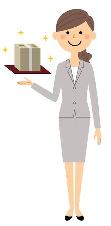 Businesswoman holding a miniature building.