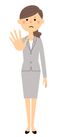 Businesswoman whole body with palm in front Vector illustration.
